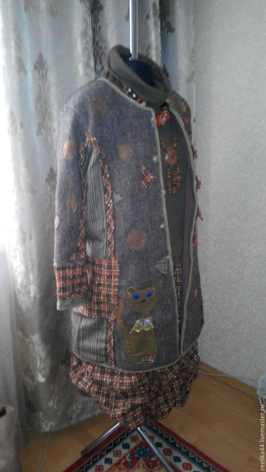 """Верхняя одежда ручной работы. Ярмарка Мастеров - ручная работа. Купить Пальто рециклинг """"Кошки"""". Handmade. Комбинированный, пальто из шерсти"""