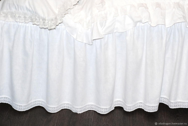 Льняной подзор для кровати в стиле прованс, Подзоры и юбки для кровати, Переславль-Залесский,  Фото №1