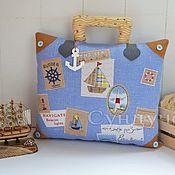 Для дома и интерьера ручной работы. Ярмарка Мастеров - ручная работа Подушка Морской чемодан путешественника, подушка-чемодан. Handmade.
