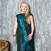 """Одежда ручной работы. Ярмарка Мастеров - ручная работа Авторское валяное платье """"Dark emerald"""". Handmade."""