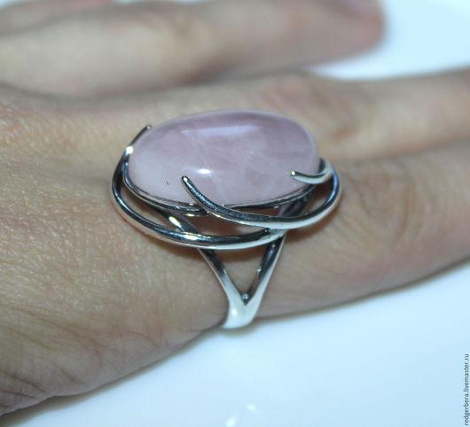 """Кольца ручной работы. Ярмарка Мастеров - ручная работа. Купить Кольцо """"Есения"""" розовый кварц, серебрение 925 пробы. Handmade."""