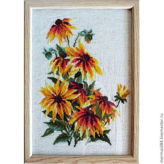 """Картины цветов ручной работы. Ярмарка Мастеров - ручная работа. Купить Вышивка крестом """"Цветы"""". Handmade. Оранжевый, вышивка крестиком"""