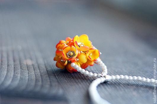 """Колье, бусы ручной работы. Ярмарка Мастеров - ручная работа. Купить Ожерелье """"Цветочная корзинка"""". Handmade. Оранжевый, корзинка, свадьба"""