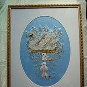 Для дома и интерьера ручной работы. Ярмарка Мастеров - ручная работа лебеди - вышиитая крестом картина. Handmade.