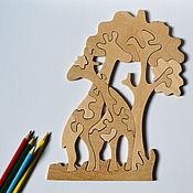 Мягкие игрушки ручной работы. Ярмарка Мастеров - ручная работа Пазл Жирафы, деревянная игрушка пазл.Развивающая игрушка. Handmade.
