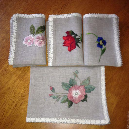 Текстиль, ковры ручной работы. Ярмарка Мастеров - ручная работа. Купить Набор салфеток. Handmade. Салфетка, гладь, цветы