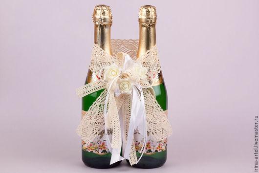 Свадебные аксессуары ручной работы. Ярмарка Мастеров - ручная работа. Купить Украшение для свадебных бутылок. Handmade. Украшение бутылок