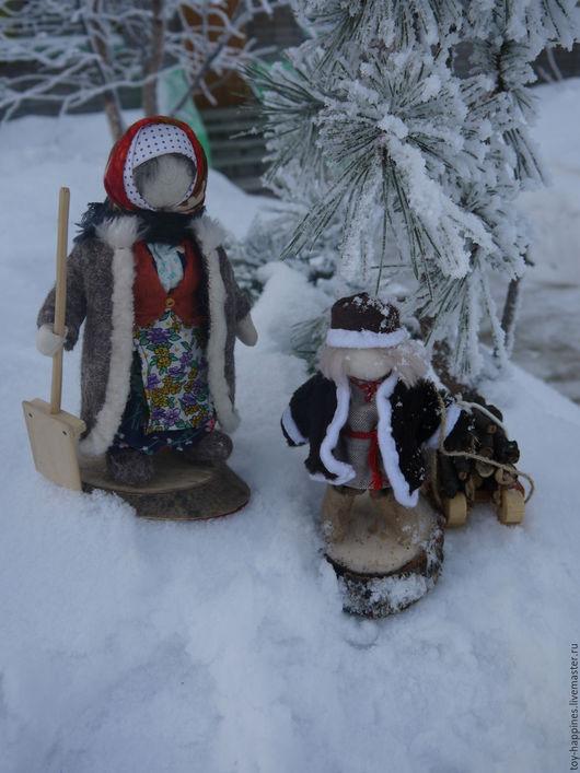 Народные куклы ручной работы. Ярмарка Мастеров - ручная работа. Купить Баба Маня вышла снег почистить. Handmade. Серый