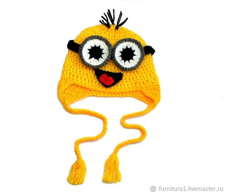 Одежда шапка для малышей миньон теплая вязаная зимняя с ушками желтая, Одежда, Москва,  Фото №1