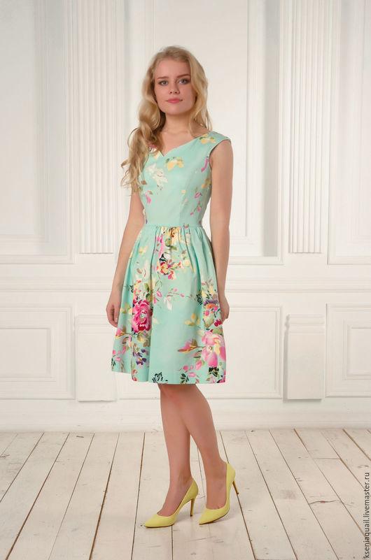 """Платья ручной работы. Ярмарка Мастеров - ручная работа. Купить Платье """"Цветочный вальс""""-4. Handmade. Мятный, платье летнее"""