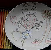 """Посуда ручной работы. Ярмарка Мастеров - ручная работа Тарелка """"Детские Рисунки"""". Handmade."""