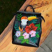 Сумки и аксессуары handmade. Livemaster - original item Leather backpack transformer with hand painted Toucan. Handmade.