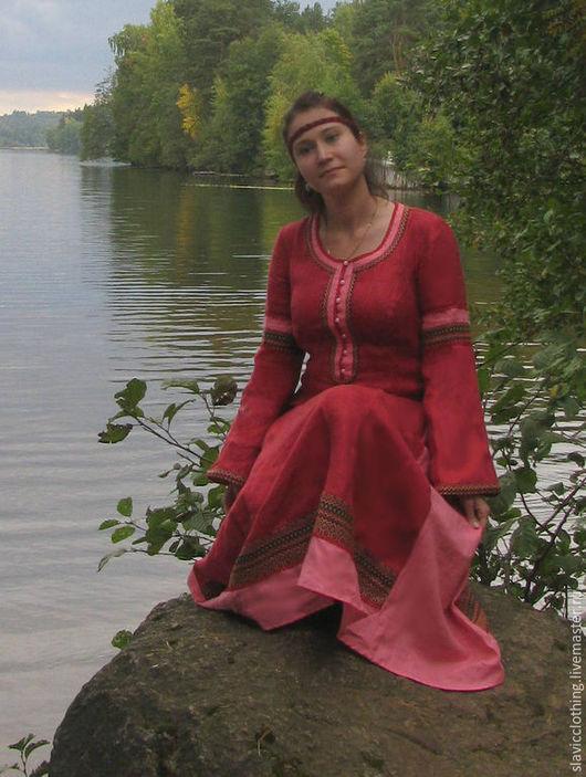 """Платья ручной работы. Ярмарка Мастеров - ручная работа. Купить льняное платье""""Аленушка"""". Handmade. Бордовый, славянская одежда, средневековое платье"""