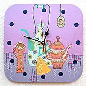 Для дома и интерьера handmade. Livemaster - original item Kitchen clock with painting Still Life Time to drink tea. Handmade.