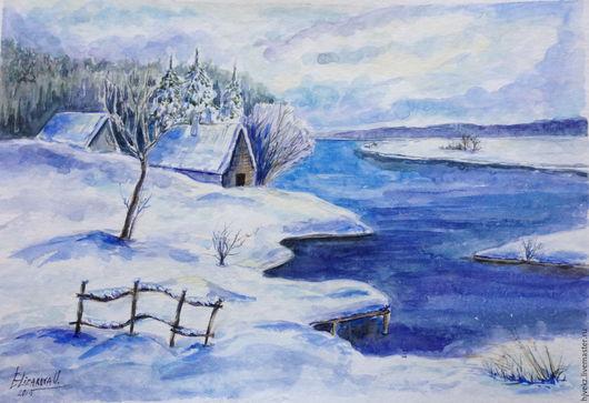 Пейзаж ручной работы. Ярмарка Мастеров - ручная работа. Купить Зима, наконец-то. Handmade. Синий, зима, пейзаж