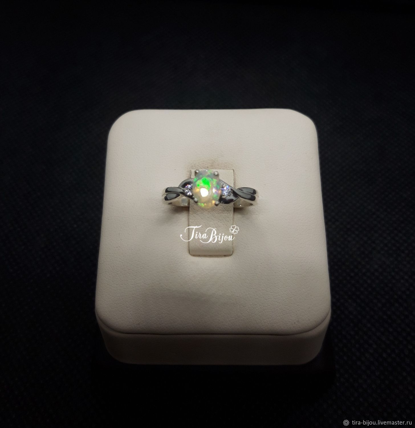 Ring: Ring with Ethiopian opal and cubic Zirconia, Rings, Moscow,  Фото №1