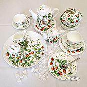 Посуда handmade. Livemaster - original item Painted porcelain Tea set strawberry fields. Handmade.