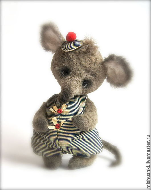 Мишки Тедди ручной работы. Ярмарка Мастеров - ручная работа. Купить Мышонок Крош. Handmade. Серый, морская тема