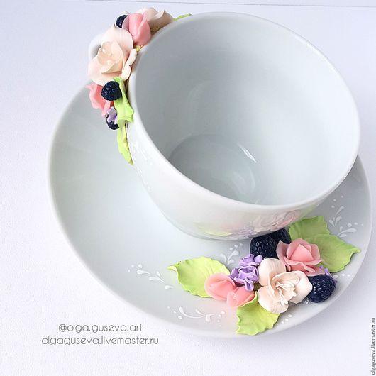 """Кружки и чашки ручной работы. Ярмарка Мастеров - ручная работа. Купить Чайная пара """"Цветочное чаепитие"""" (чашка+блюдце). Handmade. Комбинированный"""