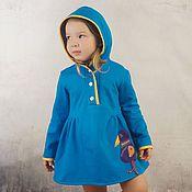 Работы для детей, ручной работы. Ярмарка Мастеров - ручная работа Синее трикотажное платье с капюшоном. Handmade.