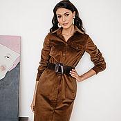 Одежда handmade. Livemaster - original item Cotton corduroy Safari dress Chocolate, corduroy dress. Handmade.