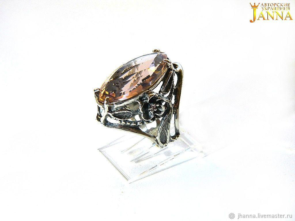 Morganite 'Lira' ring with peach morganite, Rings, Volgograd,  Фото №1