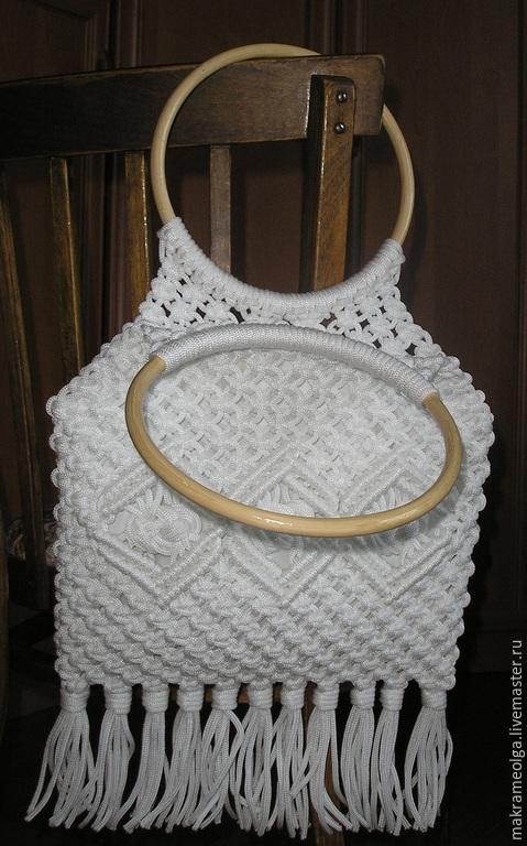 Женские сумки ручной работы. Ярмарка Мастеров - ручная работа. Купить Плетеная женская сумка с бахромой. Handmade. Белый