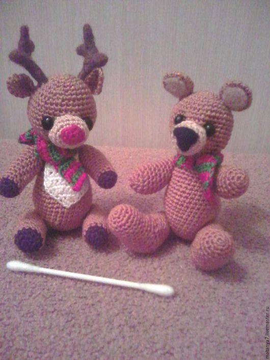 Миниатюра ручной работы. Ярмарка Мастеров - ручная работа. Купить Новогодние игрушки. Handmade. Коричневый, новогоднее украшение, олень, холофайбер