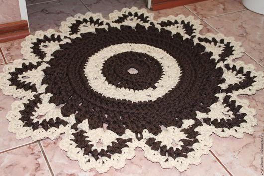 Текстиль, ковры ручной работы. Ярмарка Мастеров - ручная работа. Купить Коврик ажурный. Handmade. Чёрно-белый, для ванной комнаты