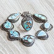Jewelry Sets handmade. Livemaster - original item Turquoise (bracelet & ring) (42). Handmade.