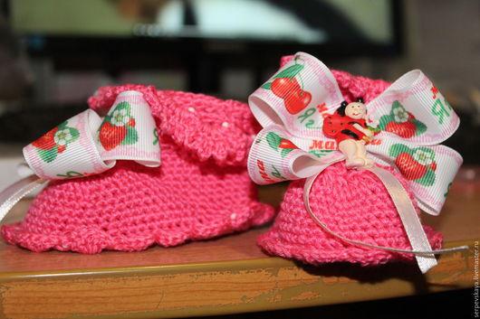 Для новорожденных, ручной работы. Ярмарка Мастеров - ручная работа. Купить Пинетки для любимой дочки. Handmade. Комбинированный, однотонный