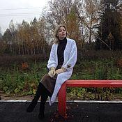 Одежда ручной работы. Ярмарка Мастеров - ручная работа Кардиган-пальто из белоснежной ангоры с ручной вышивкой. Handmade.