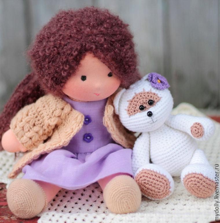 Вальдорфская игрушка ручной работы. Ярмарка Мастеров - ручная работа. Купить Вальдорфская кукла Дашенька с мишкой. Handmade. Мягкая игрушка