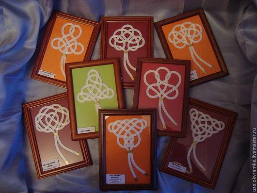 Узелки на счастье, здоровье, удачу и любовь. На фото слева направо и сверху вниз: Танцующий узел, узел Обаяния (женский), Денежное дерево, Жива, Лада, Соляр, Бизнес-колокол, узел Босса.