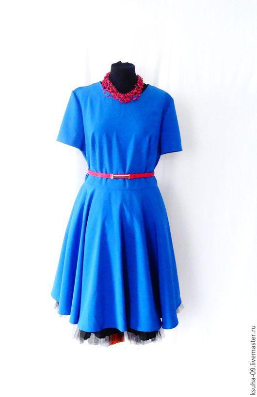 Платья ручной работы. Ярмарка Мастеров - ручная работа. Купить Платье синее с юбкой клёш. Handmade. Синий, платье