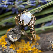 Украшения handmade. Livemaster - original item Unusual bronze ring with a moonstone
