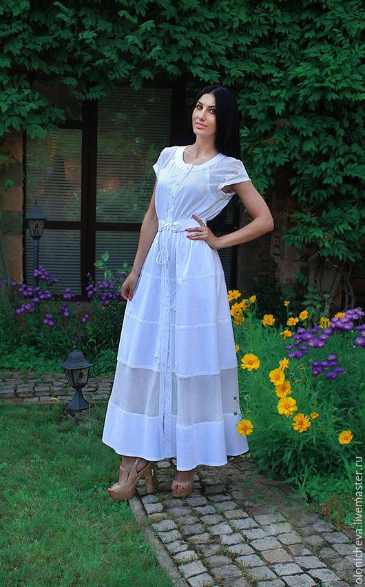 """Платья ручной работы. Ярмарка Мастеров - ручная работа. Купить Длинное хлопковое платье """"Белая роза"""". Handmade. Белый"""