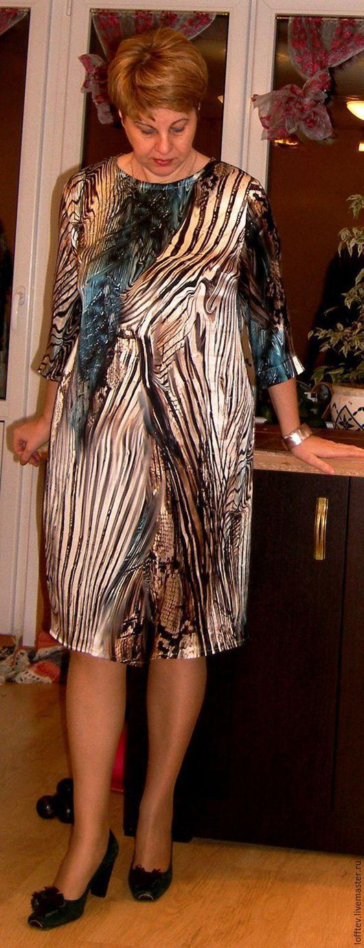 Платья ручной работы. Ярмарка Мастеров - ручная работа. Купить Платье натуральный шелк прямое. Handmade. Бежевый, шелк 100%