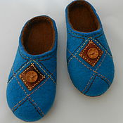 """Обувь ручной работы. Ярмарка Мастеров - ручная работа Тапки валяные домашние """"Бирюза+корица"""". Handmade."""