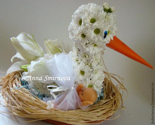 Букеты ручной работы. Ярмарка Мастеров - ручная работа. Купить Аист из цветов. Handmade. Белый, подарок на свадьбу, подарок на рождение