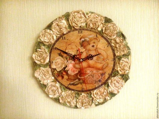 """Часы для дома ручной работы. Ярмарка Мастеров - ручная работа. Купить Часы """"Мишка в розах"""". Handmade. Бежевый, кантри"""