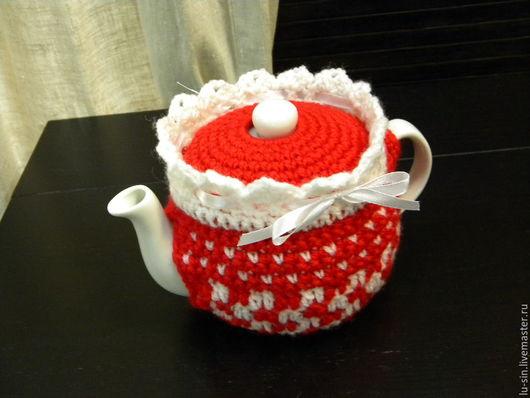 """Кухня ручной работы. Ярмарка Мастеров - ручная работа. Купить Грелка с чайником """"Красно-белая классика:"""". Handmade. Ярко-красный"""