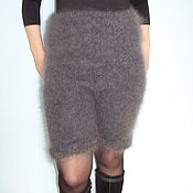 Одежда handmade. Livemaster - original item Shorts knitted extra long feather made from 100% natural goat fluff. Handmade.