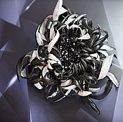 Украшения handmade. Livemaster - original item Leather ornaments.The colors of the skin.BROOCH BLACK CHRYSANTHEMUM