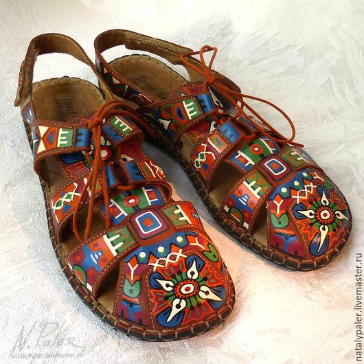 """Обувь ручной работы. Ярмарка Мастеров - ручная работа. Купить Роспись по обуви. Босоножки """"Mexico"""". Handmade. Разноцветный, мексика"""