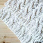 Для дома и интерьера ручной работы. Ярмарка Мастеров - ручная работа Белый вязаный плед с косами (Throw size). Handmade.