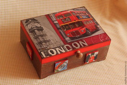 """Кухня ручной работы. Ярмарка Мастеров - ручная работа. Купить Коробка-шкатулка  """"Лондон"""". Handmade. Красный, оригинальная шкатулка"""