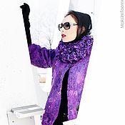 Одежда ручной работы. Ярмарка Мастеров - ручная работа Сиреневое пальто со съемным воротником. Handmade.