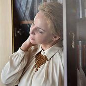 Украшения handmade. Livemaster - original item Leather necklace Mustard lace. Handmade.