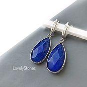Украшения handmade. Livemaster - original item Drop earrings with large blue jadeites. Handmade.